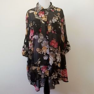 MINKPINK Sheer Floral High-Low Blouse